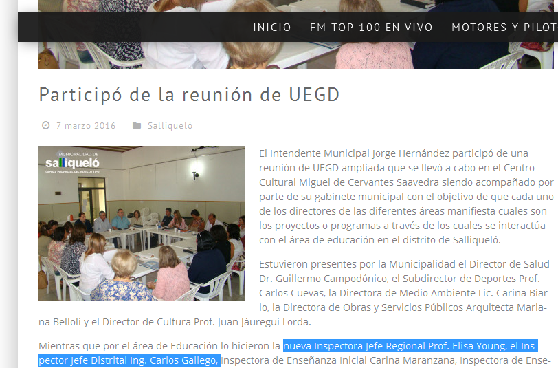 » Participó de la reunión de UEGD